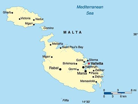 Более подробная карта Мальты
